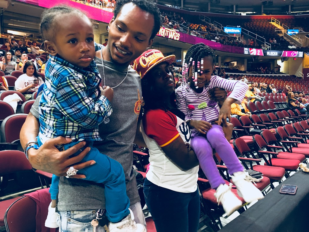 . Lavelle Hall and Lueressa Curryy of Cleveland at Watch Party with their children, Lavelle Jr. and Zyala. David S. Glasier -The News-Herald