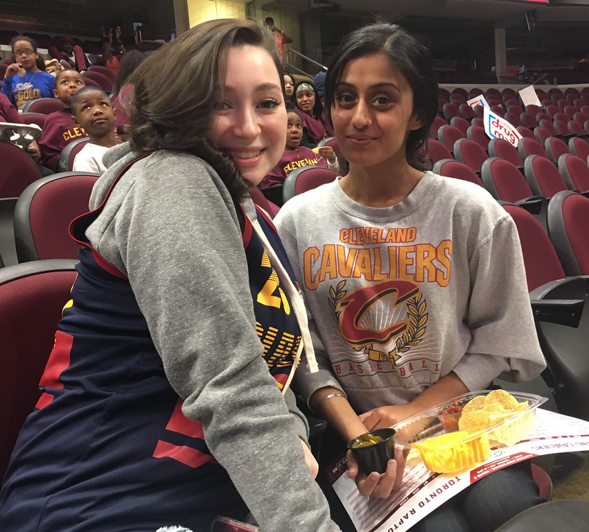 . Veronica Varyo and Bimi Ghuman, both from Cleveland, at the Cavs Watch Party. David S. Glasier - The News-Herald