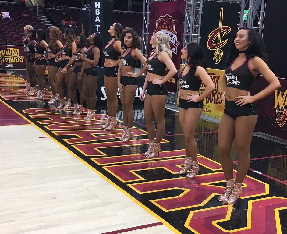. Cavs Dance Team on the baseline during Watch Party. david S. Glasier - The News-Herald