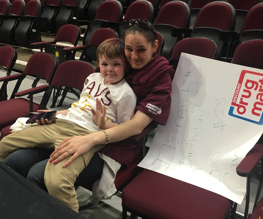 . Sheri Laurenti of Lorain and her son, Nicholas, at The Q for Cavs Watch Party. David S. Glasier - The News-Herald