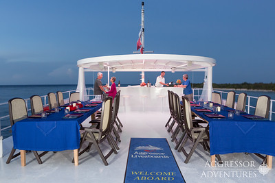 Upper cocktail deck on board the Cayman Aggressor V
