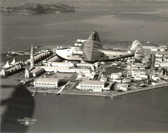 Pan American Clipper above Treasure Island