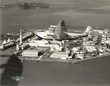 Pan American Clipper above Treasure Island