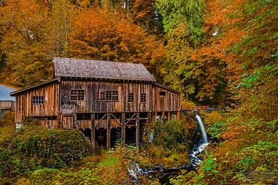"""Autumn at the Mill,"" Autumn at Cedar Creek Grist Mill, Washington"