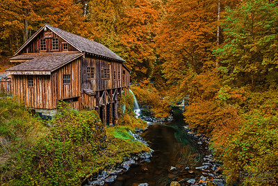 """""""Colors of the Past,"""" Cedar Creek Grist Mill in the Autumn, Washington"""
