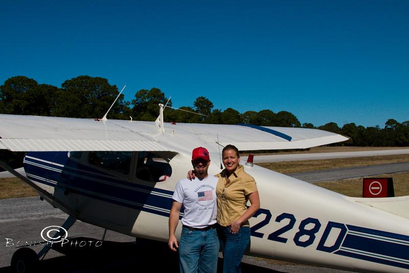 Pat & Cindy Bonish on the Cedar Key Airstrip - Photo by Marvin Franks