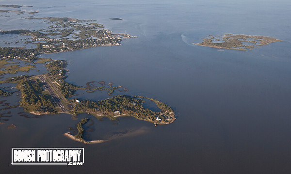 Looking East over the Cedar Key Airport with Downtown and Atsena Otie in the Background - June 2017 - Photo by Pat Bonish