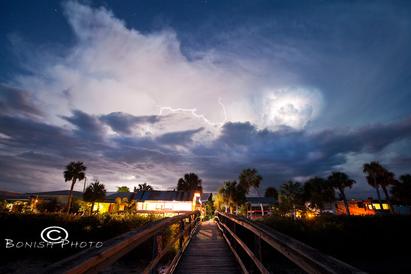 Lightning Storm Over the Low-Key Hideaway in Cedar Key Florida - Photo by Pat Bonish