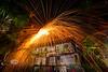 Fireworks Show above the Hideaway Tiki Bar - Cedar Key Florida - Photo by Pat Bonish