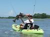 'Billabong909' aka Aaron from the Jacksonville Kayak Fishing Forum with a monster Black Drum caught behind the Low-Key Hideaway - Photo taken by 'JohnYaksJax' aka John Stewart - June 23 2010