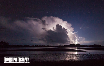 Comet NEOWISE entering the upper right of the storm - Photo by Pat Bonish, Cedar Key Florida