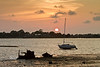 Low Tide Sunset - Sailboat sitting High and Dry in Cedar Key Florida - Photo by Pat Bonish