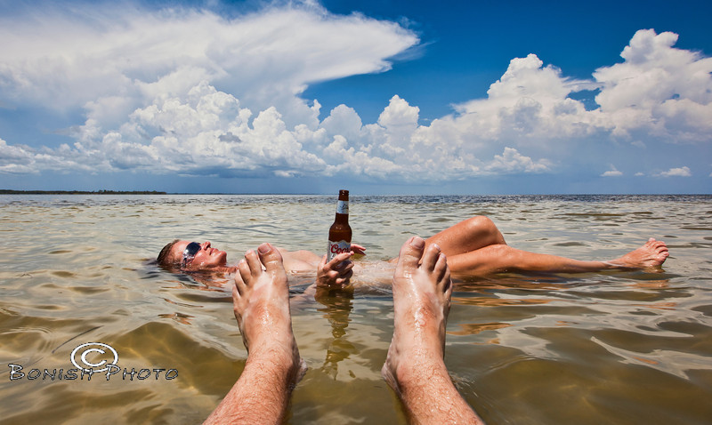 Got My Ass in the Water, toes in the Sand, Not a Worry  in the World with a Cold Beer in my Hand - Photo by Pat Bonish