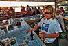 Cindy and Pat having too much fun while bartending at the Hideaway Tiki Bar, Cedar Key Florida
