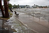 Rising Waters breaking over the seawall in Cedar Key Florida as Tropical Storm Andrea makes Landfall - Photo by Pat Bonish