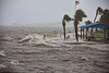Storm waves breaking over the Sea Wall behind Gulfside Motel in Cedar Key Florida -Tropical Storm Andrea - Photo by Pat Bonish