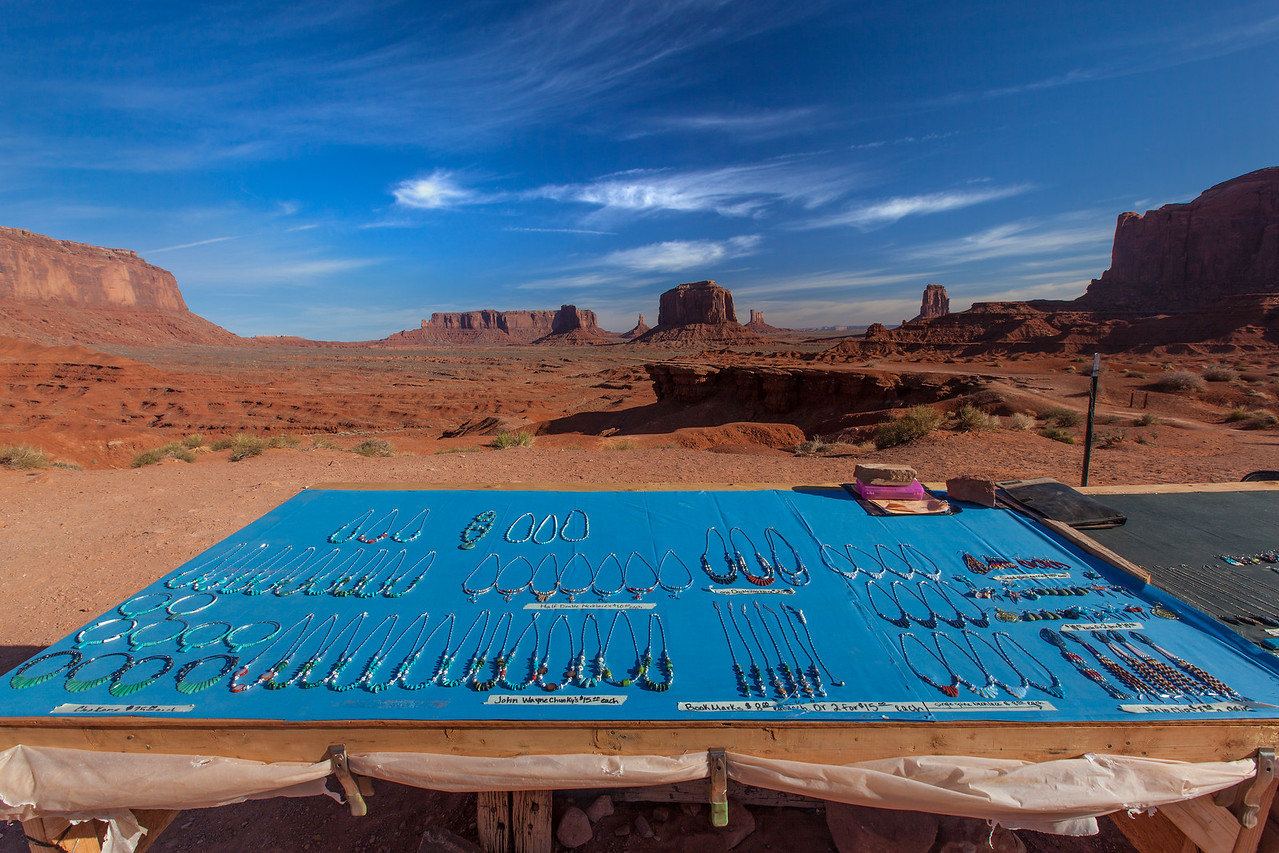 """Navajo Jewelry Display in Monument Valley"""