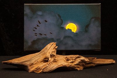 Super Moon with Geese - SOLD