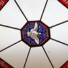 Memorial Hall in the Thayer Memorial Library in  Lancaster is celebrating 150 years. If you look up in the hall you will see this stained glass window at the top.  SENTINEL & ENTERPRISE/JOHN LOVE