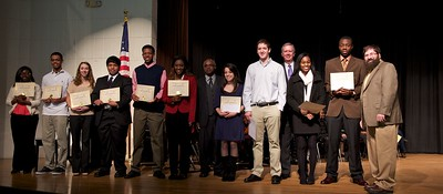 Academic excellence winners from the county's five high schools with BOE member Leonard Presberg and Superintendent Dan Colwell