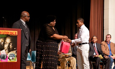 John E. Jones & Dawn Oparah congratulate the 2013 essay contest winner