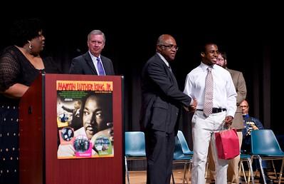 John E. Jones congratulates this year's essay award winner