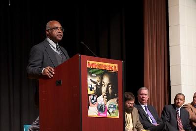 Fayette County NAACP Chairman John E. Jones addresses a capacity crowd