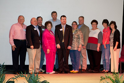 Newly elected Fayette County, GA GOP officers (l to r): Harold Bost, Treasurer; Paul Ploener, 1st V/C; Dr Thom Sandwich, V/C Operations; Jean Studdard, V/C Events; Bob Ross, V/C Education & Training; County Chairman Lane Watts; Denise Ognio, Asst V/C Opns (west); David Studdard, immediate past Chairman; Debbie Dickinson, Secretary; Lou Webb, Asst V/C Communications & PR; Wanda Hawkins, V/C Finance