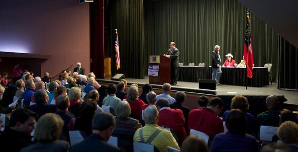 Apr 20, 2013, Warm Springs, GA; GA State Senator Josh McKoon discusses ethics legislation with delegates at the 3rd District convention