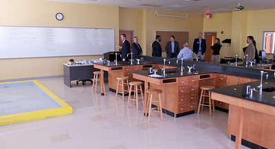 Crime scene investigation lab.  Yellow-bordered basin is used for assessing blood spatter.