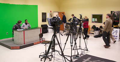 Broadcasting studio, where students script and conduct live content for live streaming and paid spots
