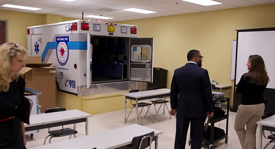 Public Safety classroom, with ambulance training aid