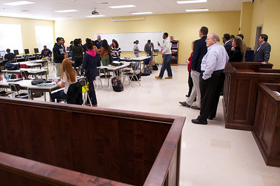 Criminal justice lab- with mock courtroom (jury box to left, judge & witness stands to right)