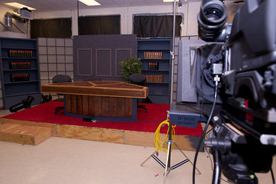 The news desk- often manned by students and video taped by students