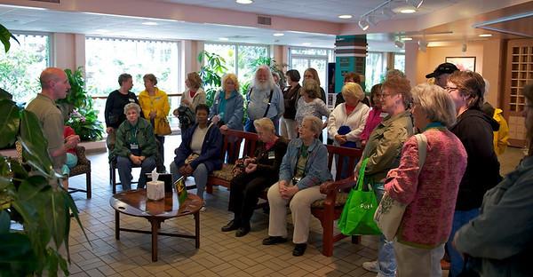 Callaway Gardens Expert Brian Kanotz welcomes Master Gardners to the greenhouse tour