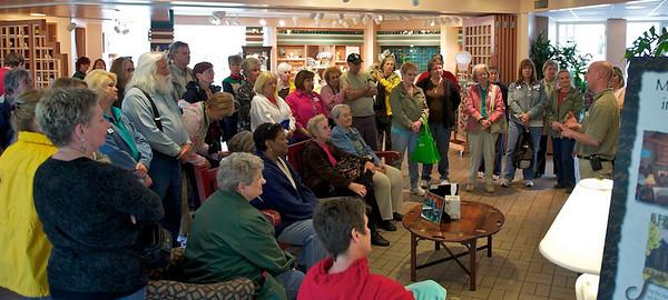 Callaway Gardens Expert Brian Kanotz welcomes Master Gardeners to the greenhouse tour