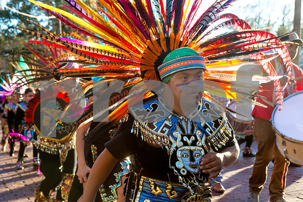 Santiago Morena dances at St. Peter Claver Parish's parade in recognition of the Feast Day of Our Lady of Guadalupe in Tyler, Texas, on Sunday, Dec. 10, 2017. (Chelsea Purgahn/Tyler Morning Telegraph)