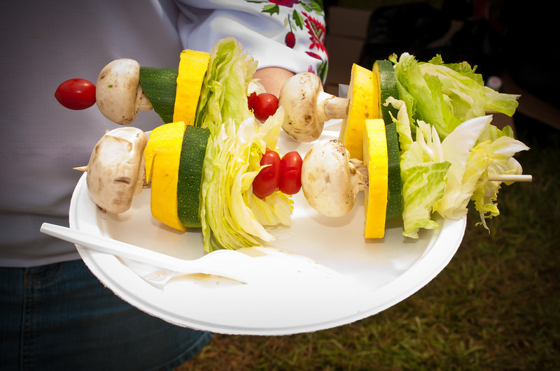 Salad on a stick, one of the more interesting Polish foods served at this years festival
