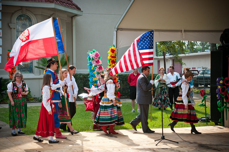 Presentation of the American, Polish and Texas flags