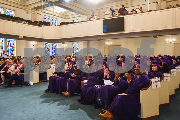 A graduation ceremony for students with the Christian Women's Job Corps of Tyler at First Baptist Church in Tyler, Texas, on Tuesday, May 2, 2017.The nearly 60 graduates participated in a ten-week program with the nonprofit, whose mission is to equip women with job skills and life skills in a Christ-centered environment. (Chelsea Purgahn/Tyler Morning Telegraph)