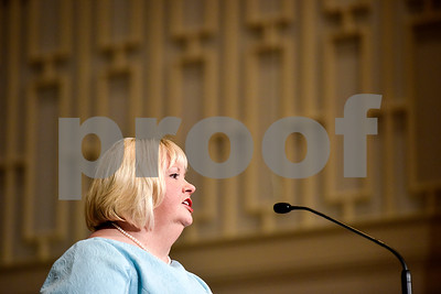 Sherry Skinner, executive director of Christian Women's Job Corp, speaks during a graduation ceremony for students with the Christian Women's Job Corps of Tyler at First Baptist Church in Tyler, Texas, on Tuesday, May 2, 2017.The nearly 60 graduates participated in a ten-week program with the nonprofit, whose mission is to equip women with job skills and life skills in a Christ-centered environment. (Chelsea Purgahn/Tyler Morning Telegraph)