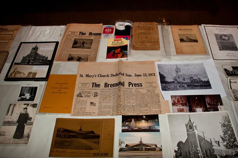 Tables full of old Bremond memorabilia