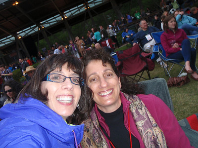 Jenny and Suzanne at concert time....chilly weather!