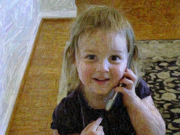 On the phone with her nannie