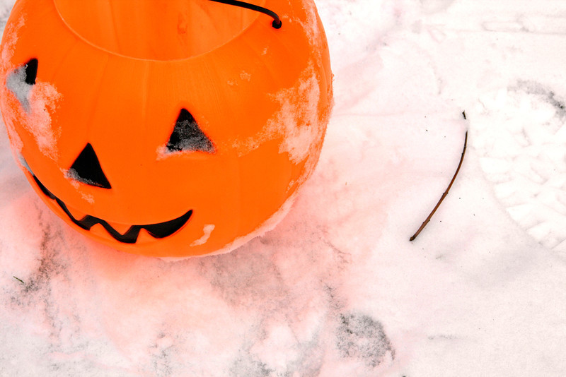 Pumpkin in the snow. Wait, did we miss Halloween? Or did the snow come that early? Ah, life in Michigan.
