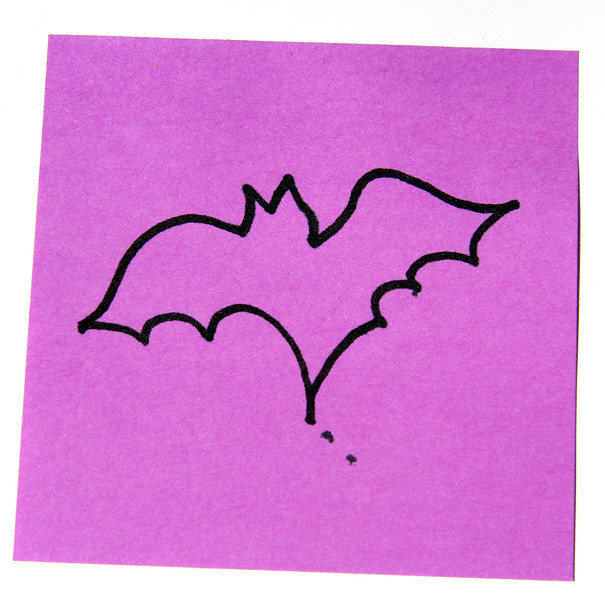 Boo! Bat on a sticky note? Why? I don't know, do you?