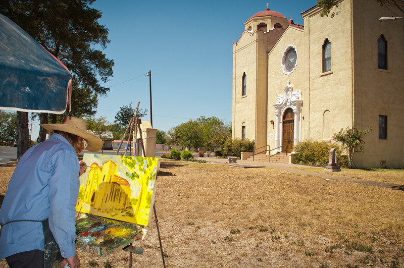 Well Known Artist Brian Zievert Creating A Painting Of St. Stanislaus Church