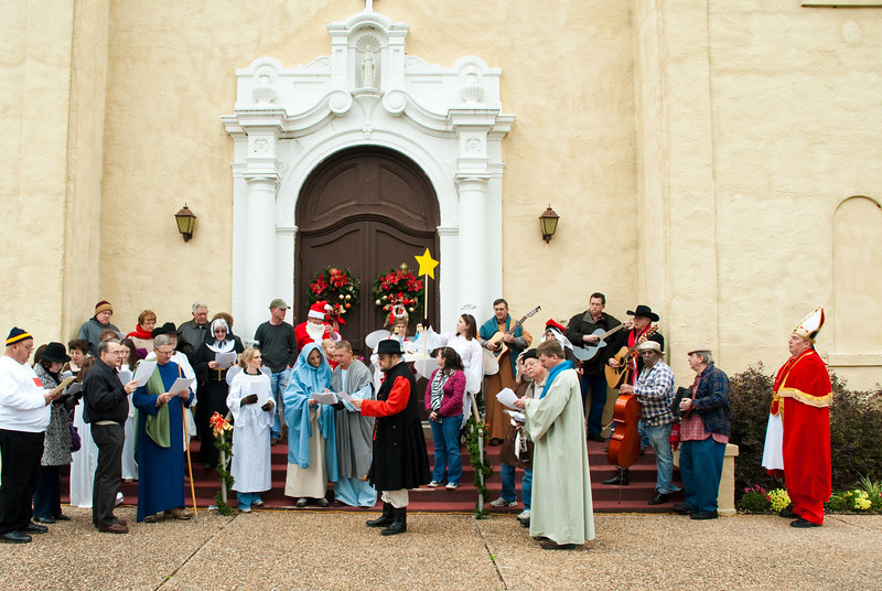 Singing koledy on the steps of St. Stanislaus Catholic church in Chappell Hill Texas.