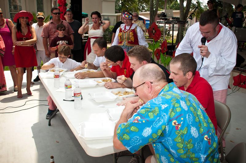 Master of Ceremonies Christian Piorkowski hosts the pierogi eating contest
