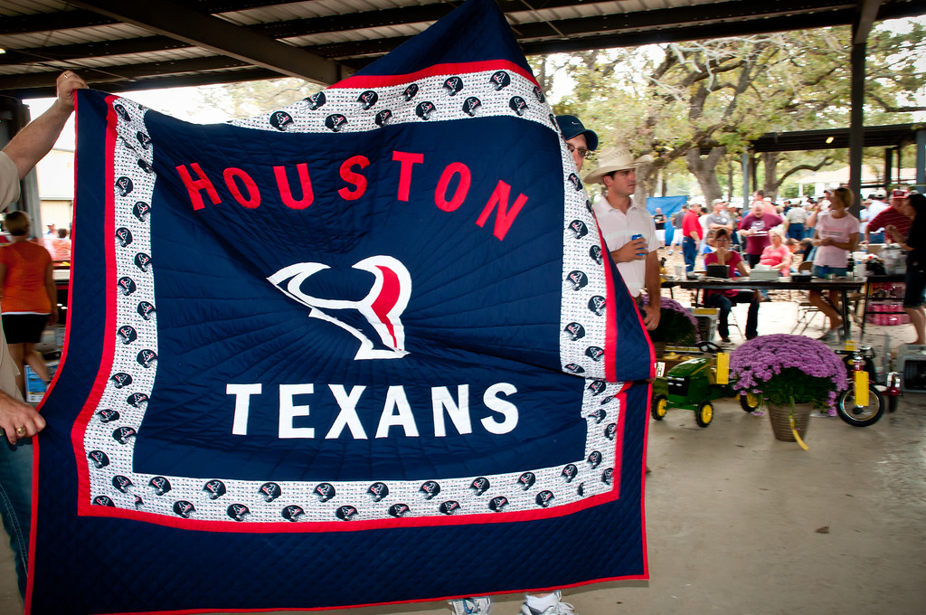 Houston Texans quilt being sold at the live auction.